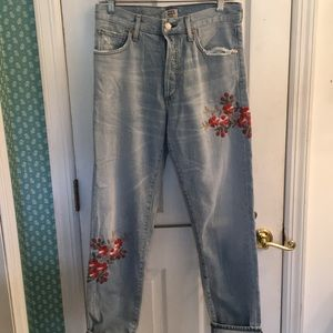 Citizens of Humanity Floral embroidered Jeans, 27